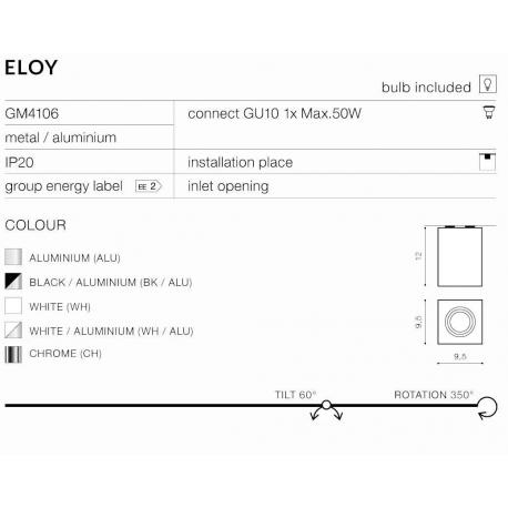 ELOY 1 GM4106 LAMPA NATYNKOWA AZZARDO ALUMINIUM