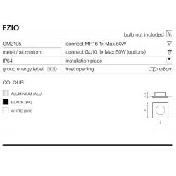 EZIO GM2105 BK LAMPA OCZKO WPUSZCZANE AZZARDO BLACK