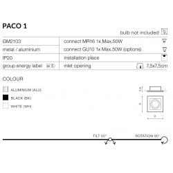 PACO1 GM2103 WH LAMPA OCZKO WPUSZCZANE AZZARDO WHITE