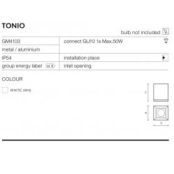 TONIO GM4103 KINKIET ZEWNĘTRZNY AZZARDO WHITE