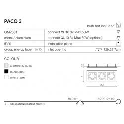 PACO3 GM2301 BK LAMPA OCZKO WPUSZCZANE AZZARDO BLACK