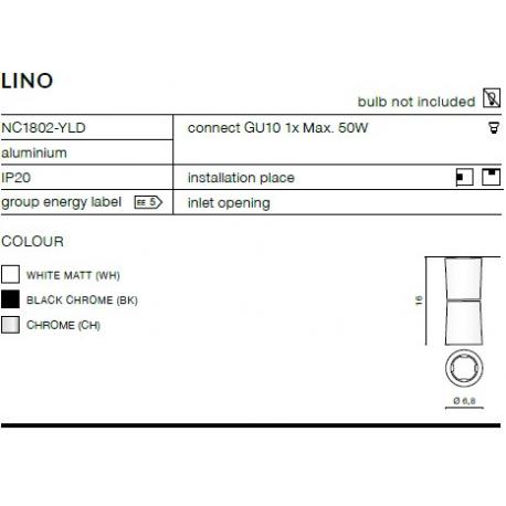 LINO LAMPA NATYNKOWA NC1802-YLD CHROM AZZARDO AZ1478