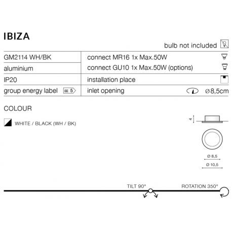 IBIZA OCZKO WPUSZCZANE GM2114 WH/BK AZZARDO