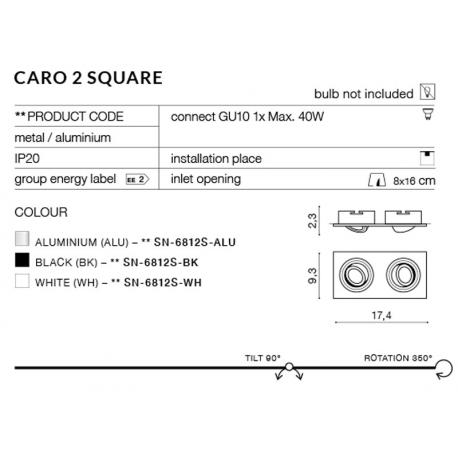 CARO 2S SN-6812S-BK OPRAWA WPUSZCZANA W SUFIT AZZARDO