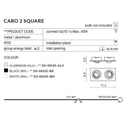 CARO 2S SN-6812S-ALU OPRAWA WPUSZCZANA W SUFIT AZZARDO