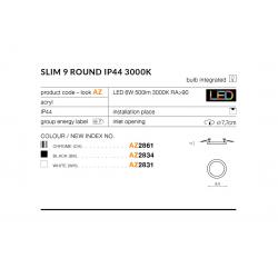 SLIM 9 ROUND 4000K IP44 CHROME AZ2862 LAMPA SUFITOWA PLAFON LED AZZARDO