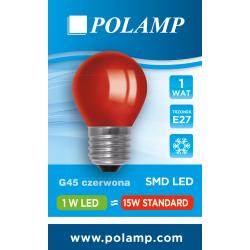 Żarówka LED G45 E27 1W czerwona 5902811503730 POLAMP