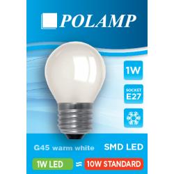 Żarówka LED G45 E27 1W Biała Ciepła  5902811503778 POLAMP